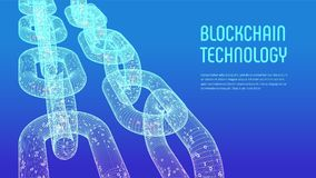 Chaîne de bloc Crypto devise Concept de Blockchain chaîne du wireframe 3D avec le code numérique Calibre Editable de Cryptocurren Photographie stock