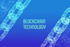 Chaîne de bloc Crypto devise Concept de Blockchain chaîne du wireframe 3D avec les blocs numériques Calibre Editable de Cryptocur Image stock