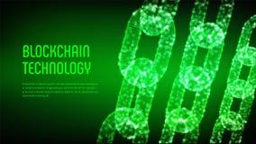 Chaîne de bloc Crypto devise Concept de Blockchain chaîne du wireframe 3D avec les blocs numériques Calibre Editable de Cryptocur Images libres de droits