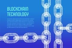 Chaîne de bloc Crypto devise Concept de Blockchain chaîne du wireframe 3D avec les blocs numériques Calibre Editable de Cryptocur Image libre de droits