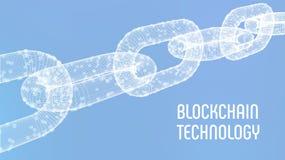 Chaîne de bloc Crypto devise Concept de Blockchain chaîne du wireframe 3D avec les blocs numériques Calibre Editable de Cryptocur Photo stock