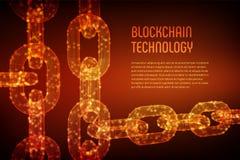 Chaîne de bloc Crypto devise Concept de Blockchain chaîne du wireframe 3D avec les blocs numériques Calibre Editable de Cryptocur Images stock