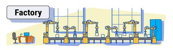 Chaîne de montage automatique de convoyeur de production d'usine croquis coloré de concept d'industrie d'automation industrielle  illustration de vecteur