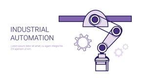 Chaîne de montage d'automation industrielle bannière de Web de calibre de concept de production de convoyeur avec l'espace de cop illustration de vecteur