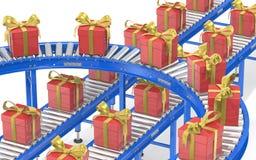Chaîne de montage de cadeau Images stock