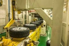 Chaîne de montage de pneu d'automobile de branche de Chongqing Changan Minsheng Logistics Chongqing Images stock