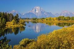 Chaîne de montagne de Teton et courbure grandes d'Oxbow au Wyoming Etats-Unis Photos stock