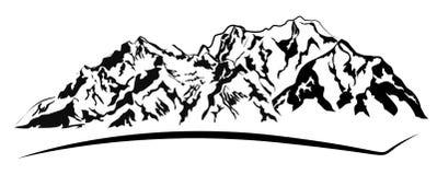 Chaîne de montagnes sur le blanc illustration stock