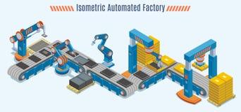 Chaîne de production automatisée isométrique concept illustration de vecteur