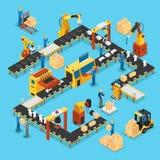 Chaîne de production automatisée isométrique concept illustration stock