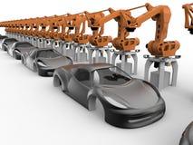 Chaîne de production futuriste de voiture illustration de vecteur