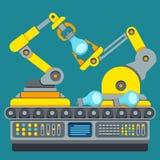Chaîne de production robotique Concept de vecteur de machine de fabrication illustration stock
