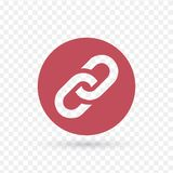 Chaîne, icône rouge plate de lien dans l'illustration de vecteur de cercle d'isolement sur le fond transparent illustration libre de droits