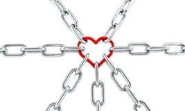 Chaîne rouge de coeur Image libre de droits