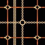 Chaînes d'or et ceintures, modèle sans couture Modèle baroque de mode de style avec des chaînes et des ceintures illustration libre de droits