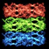 Chaînes de caractères ondulées vert-bleu rouges Photographie stock libre de droits
