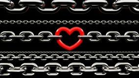 Chaînes métalliques verrouillées avec un coeur rouge Image stock