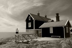 Chałupa dla czynszu na wybrzeżu morze bałtyckie w Szwecja Zdjęcie Royalty Free