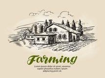 Chałupa, dom na wsi nakreślenie Gospodarstwo rolne, wiejski krajobraz, rolnictwo, uprawia ziemię wektorową ilustrację royalty ilustracja