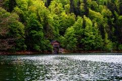 Chałupa jeziorem w górach fotografia stock