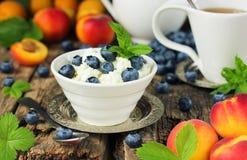 Chałupa ser z czarnymi jagodami, dieta ranku śniadaniowy posiłek Fr Zdjęcia Royalty Free