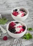 Chałupa ser z jagodami i jagodowym puree w białym pucharze Zdjęcia Royalty Free