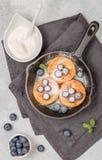 Chałupa sera bliny, syrniki, curd fritters z świeżą jagody czarną jagodą, sproszkowany cukier i kwaśna śmietanka w ciskającej żel zdjęcie royalty free