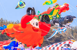 CHA AM BEACH - MARCH 9th : 15th Thailand International Kite Festival. In Petchaburi province of Thailand Royalty Free Stock Images
