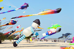 CHA- AM BEACH - MARCH 28: Thailand International Kite Festival. On March 28,2015 in Cha- am beach, Phetchaburi province, Thailand Royalty Free Stock Photo