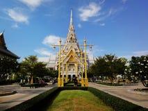 Cha Choeng Sao Province, THAILAND - January 6, 2013 Wat sothon wararam worawihan with blue sky background. The Buddhist famous temple royalty free stock photos