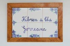 Cha Gorreana - écriture sur des tuiles Photos stock