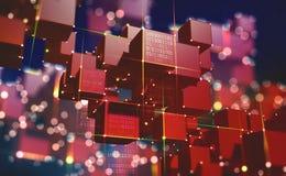 Cha?ne de bloc L'architecture globale de l'espace de l'information de l'avenir illustration de vecteur