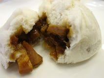 Cha siu bao served in Hong Kong tea restaurants. Char siu bao (barbecue pork filled bun) served in Hong Kong tea restaurants Royalty Free Stock Images