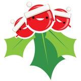 Cha sorridente di Santa Claus del vischio di Natale del fumetto semplice felice Immagine Stock