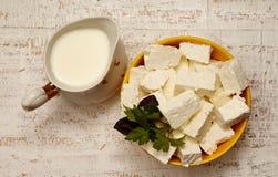 chałupy serowy mleko Obrazy Royalty Free
