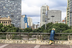 Cha viaduct. Sao Paulo, Brazil, January 02, 2016. Woman on Viaduct of Tea in downtown Sao Paulo, Brazil. Viaduto do Cha is one of the most famous viaduct in Sao royalty free stock photography