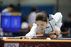 Cha Yu-Ram billiardspelare av Sydkorea Royaltyfria Bilder