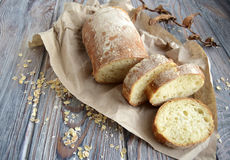 Chabatta. Is the Italian white, porous loaf produced from wheat flour and yeast Stock Photo