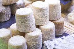 Chabichou hand-made goat cheese in display Royalty Free Stock Image