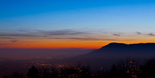 Chablais Alps At Dawn. Chablais Alps view at dawn from Mount Saleve, France Royalty Free Stock Images