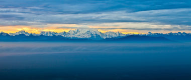 Chablais Alps At Sunrise. View of snow covered mountains at Chablais Alps at sunrise Royalty Free Stock Image