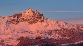 Aiguilles de Chabrieres in Winter between sunset and twilight.  Ecrins National Park, Hautes-Alpes, Alps, France. Chabrieres Needles Aiguilles de Chabrieres in stock video
