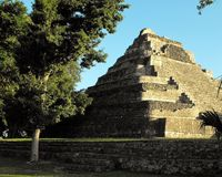 Chacchoben Mayan Pyramid. This photo was taken adjacent to the main plaza at the primary pyramid at the Chacchoben complex in Mexico just before sunset. The Stock Photos