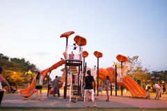 Chachangsao,Thailand :February 3, 2015 : Playgrounds in garden and family playing. Somdet Garden Chachengsao,Thailand Royalty Free Stock Photography