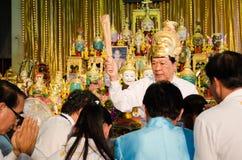 ChaChengSal THAILAND - Maj 8 2014: Oidentifierade lärare och pu Arkivfoton