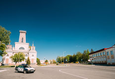 Chachersk, Belarus. Police Car Parking On Street Near Old City Hall Royalty Free Stock Image