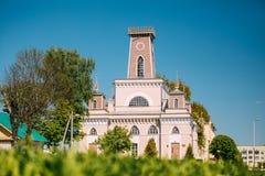 Chachersk, Bielorrusia Señal famosa - ciudad vieja Hall In Sunny Summer imágenes de archivo libres de regalías