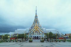 CHACHOENGSAO THAILAND - JUNE 13 : The front of Wat Sothorn Warar Stock Photo