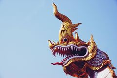 Chachoengseo, Thailand-February 3, 2019: Naga or serpent statue, The belief of Buddhism, Thai temple royalty free stock photo