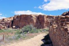 Chaco峡谷古老废墟  免版税库存图片